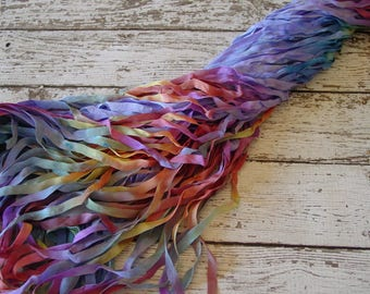 Hand Dyed Ribbon - NeW - BLOOMING quarter inch wide ribbon, 5 yards