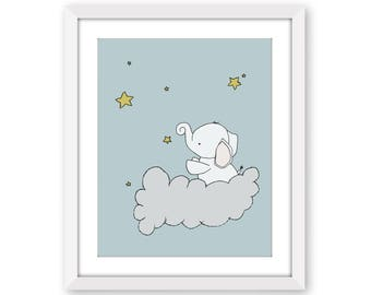 Elephant Nursery Art Print -- Elephant Star Cloud -- Nursery Art -- Nursery Decor -- Children Art -- Kids Wall Art