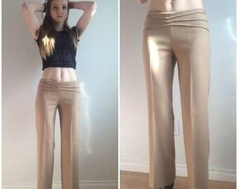 CLEARANCE 90s Bell Bottom Pants, Flare Pants, Flared Leg Pants,  Beige Trousers, Wide Leg Pants, Dress Pants Small Medium Baggy Pants Lady G