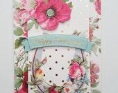 "Handmade Anniversary Card - 5"" x 7"" -Anna Griffin greeting card"