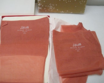 Vintage 2 Pair Arlure Pink Seamed Stockings in Box