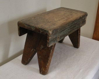 Vintage Primitive Cricket Bench Stool with Green Paint