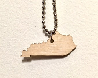 Kentucky Necklace, Wood State Birch Wooden, Moving Gift