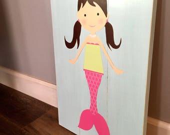 Wooden mermaid decor, rustic wall art, mermaid nursery, girl's room decor, mermaid bathroom, cottage wall hanging, under the sea party