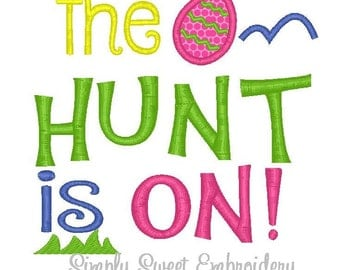 Easter The Hunt is On Machine Embroidery Applique Embroidery Design