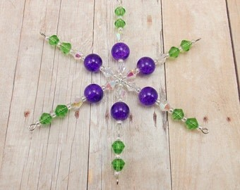Snowflake Ornament - Purple and Green - Flower
