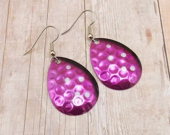 Earrings - Spinners - Fishing Lures - Spoons - Magenta Purple and Black with White Polka Dots - Silver Back - Hammered