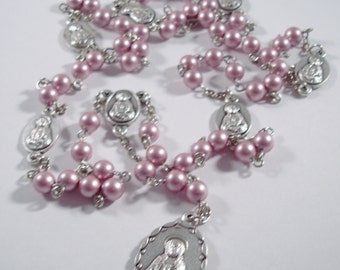 Powdered Rose Swarovski Glass Pearl Seven Sorrows (Dolors) of Mary Rosary