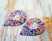 Rainbow Beaded Earrings, seed bead earrings, rainbow crystal earrings, beaded Crystal earrings, beaded Leaf earrings, rainbow, gold rainbow