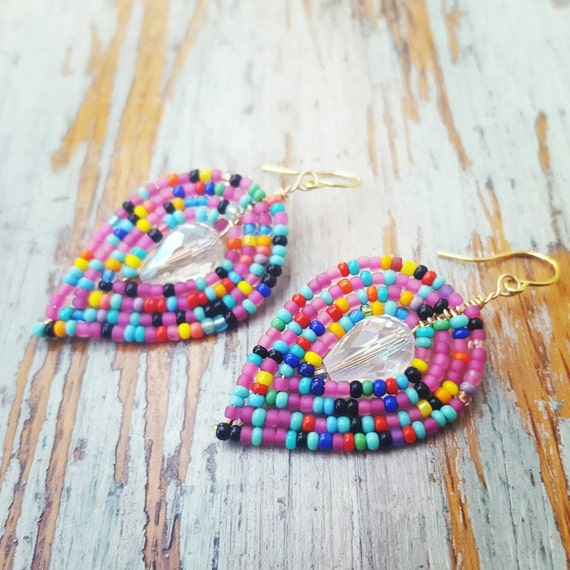 Rainbow Beaded Earrings, seed bead earrings, rainbow crystal earrings, beaded Crystal earrings, beaded Leaf earrings, rainbow, gold rainbow