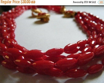 SALE Red Necklace and Clip Earrings RED Eight Strand