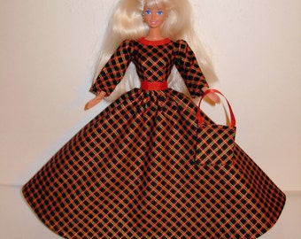 Handmade Barbie clothes - Beautiful Christmas gown with bag 4 barbie doll