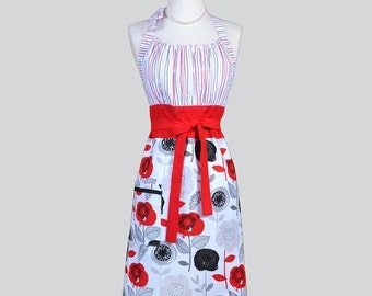 SALE Cute Kitsch / Womens Retro Apron in Valentine Red Black and White Floral Womans Vintage Style Modern Kitchen Apron