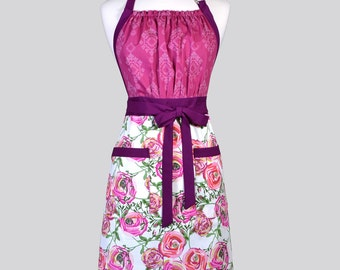 Cute Kitsch - Womens Retro Apron in Berry Floral Full Coverage Vintage Style Chef Woman Apron with Pockets Ideal Gift for Cooks