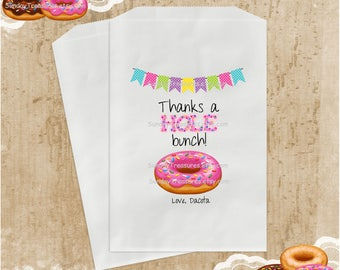 10 Pink Donut with Sprinkles Party Favor Bags / 6x9 / Thanks a Hole Bunch / Wedding Donut Holes Buffet / Teacher Kids Birthday, Personalized