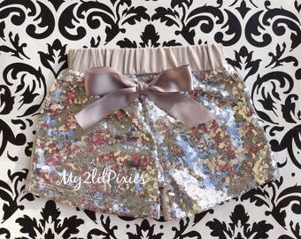 Baby Girls SILVER Sparkle Sequin SHORTS-girls birthday outfit-girls sequin shorts-Infant toddler shorts- baby girl shorts- Ready to Ship