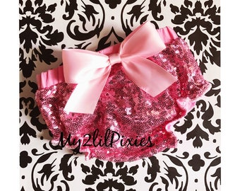 Bloomers , Pink Fully Sequins Baby Bloomer , pink satin Bow, Pink diaper cover, full sequins bloomer, Birthday bloomer, Pagant Diaper cover