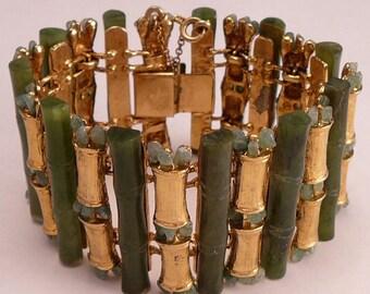 Wide Jade Bamboo Bracelet Vintage Asian Export Large Bamboo Forest Bracelet