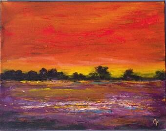 Landscape painting of vibrant sunset with texture, 11x14 horizontal landscape