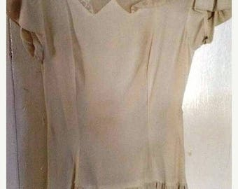 BIG SALE Gorgeous Early 40s Ivory Rayon Crepe and Peekaboo Net Tiered Formal Party Dress - Xs/S