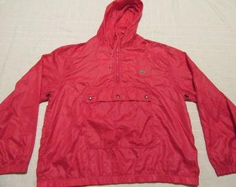 Vintage IZOD LACOSTE Windbreaker Coat Jacket - Size L Large - Nylon - Red- Alligator on Chest - Hooded - Half Zip Pullover
