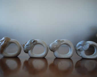 four vintage porcelain napkin rings - African Animals - 1980's - Out of Africa