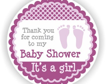 It is a Girl Baby Shower - 40 Thank You 2 inch circle Stickers - Baby Shower Labels - Envelope Seal - Address Labels - Personalized Labels