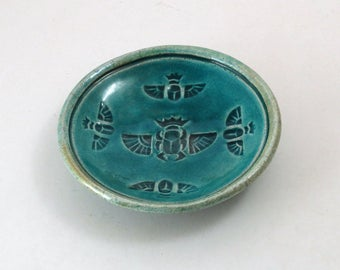 Raku Egyptian Scarab Pottery Bowl