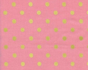 Cotton + Steel - Rifle Paper Co. - Wonderland - Caterpillar Dots in Pink Metallic