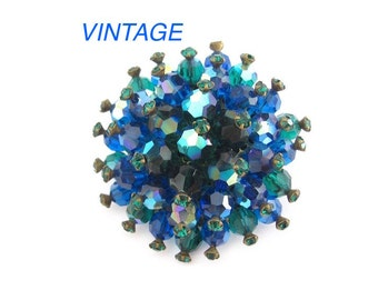 Blue Green Rhinestone Pin Vintage Brooch, Sparkling Colorful Bold, Unique Crystals, Wedding Bridal Prom Party, Gift for Mom Grandmother