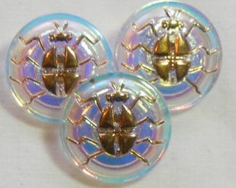 Small Gold Spider Czech Glass Buttons (3)