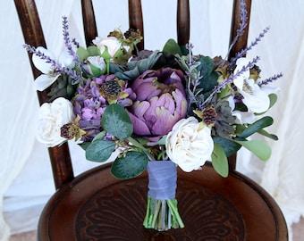 Succulent Wedding Bouquet | Lavender Purple and Sage Green | Boho Silk Flower Bridal Bouquet | SG-1009