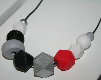 Silicone, Wood and Glass Bead Necklace in Red/Black/Grey/White tones - FREE POSTAGE