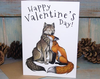 Happy Valentine's Day! Wolf & Fox Couple Illustration Greeting Card - 280gsm Card 177 x 127mm Blank Inside with Brown Recycled Envelope