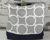 Make up bag in Grey Nautical beach link cotton canvas by Darby Mack and made in the USA