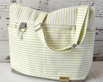 Diaper bag for Mom and Baby  in Kiwi  Green Ticking Stripe, waterproof base -Lightweight and durable! by Darby Mack made in the USA