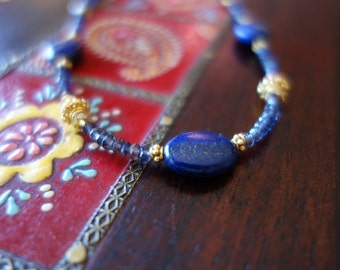 Gold blue lapis lazuli and iolite beaded necklace