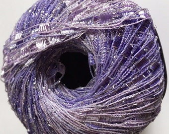 Lilac Shades Mini Ladder Glitz Yarn #47198 Ice Light Purples Metallic Ribbon 50g