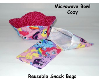 MY Little Pony Reusable snack bags and microwave cozy