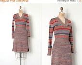 20% OFF SALE... vintage 1970s dress / striped 70s knit dress / Space-Dyed Stripes