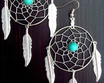 ON SALE DREAM Big Turquoise Dream catcher earrings, large long earrings, silver or gold dream catcher, native american, tribal, southwest, h