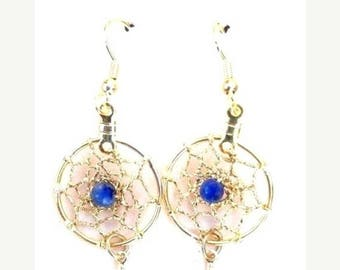 EPIC SALE DREAM Catcher Earrings  gold with Lapis