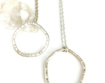 Sterling Silver Asymmetrical Circle Necklace