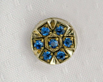 Blue Rhinestone Tie Tack Scarf Jabou Pin Vintage 80s Jewelry