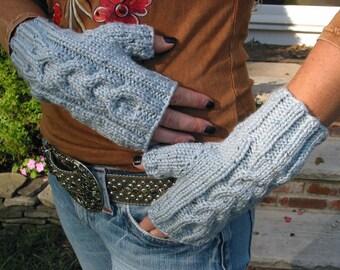SKY BLUE Fingerless Texting Gloves, Ladies Shetland Tweed
