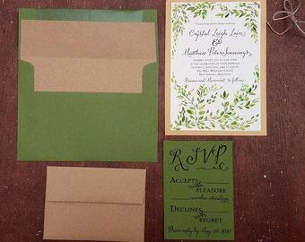 green wedding invitation set botanical greenery invite hand painted