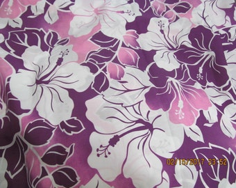 Hawaiian Quilting Fabric Pink Lavender and Purple Large Hibiscus Print  from Marianne of Maui