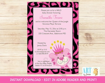 Pink Cheetah Queen of the Jungle Girl Baby Shower Invitatons   DIY Invitations Editable Text   INSTANT DOWNLOAD Print your Own