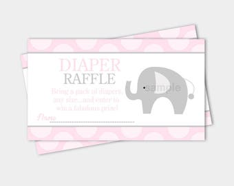 Mod Elephant Pink and Gray Girl Baby Shower Diaper Raffle Tickets | printable file INSTANT DOWNLOAD bs-037
