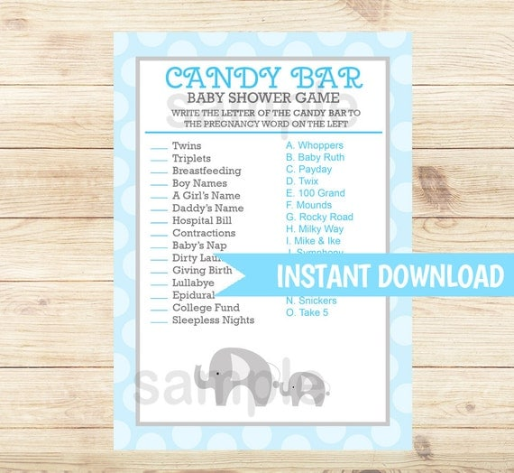 Candy Baby Shower Game: Blue Mod Elephant Candy Bar Matching Game By